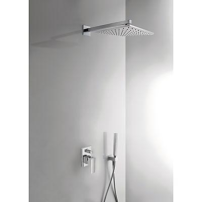 TRES Podomítkový jednopákový sprchový set CUADROs uzávěrem a regulací průtoku. Včetně podomítkového tělesa Pevná sprcha 106980