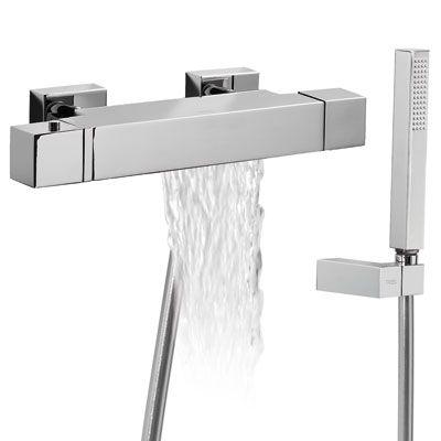 TRES Termostatická baterie pro vanu–sprchu CUADROs kaskádou (Ruční sprcha s nastavitelným držákem, proti usaz. vod. kamene. 1071749