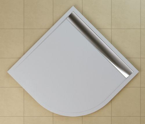 SanSwiss vanička ILA čtvrtkruh bílá 90x90x3 cm kryt aluchrom WIR550905004 WIR550905004