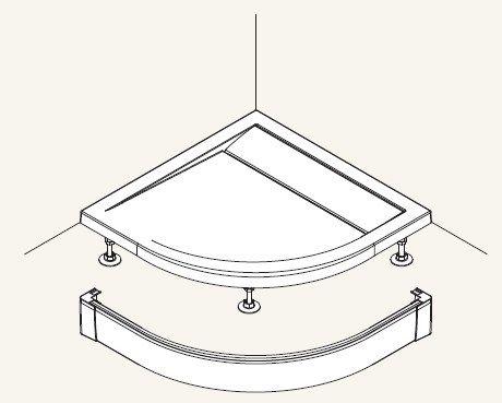 SanSwiss panel přední pro čtvrtkruhovou vaničku aluchrom 900 mm PWIR5509050 PWIR5509050