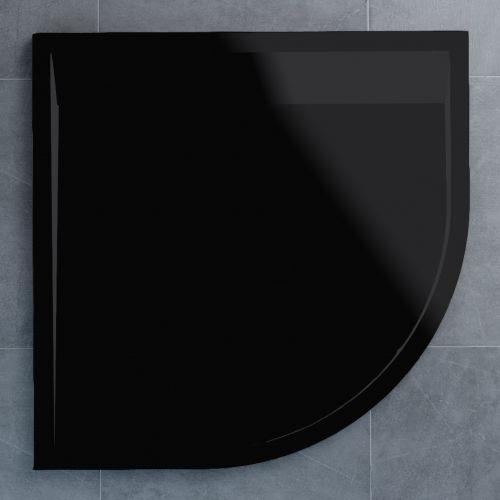 SanSwiss vanička ILA čtvrtkruh černý granit 90x90x3 cm kryt černý matný WIR5509006154 WIR5509006154