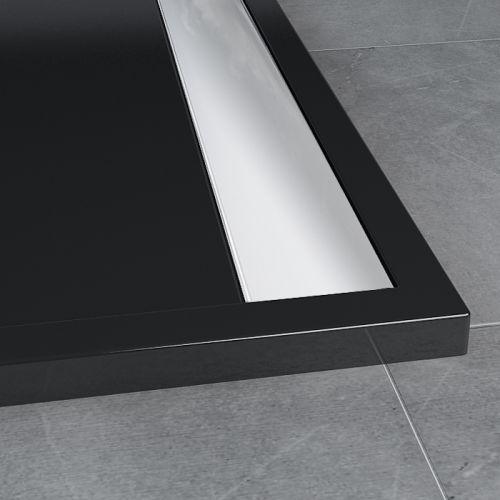 SanSwiss vanička ILA obdélník černý granit 160x90x3,5 cm kryt aluchrom WIA9016050154 WIA9016050154