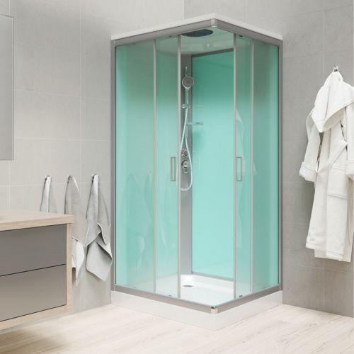 MEREO Sprchový box, čtvercový, 90cm, satin ALU, sklo Point, zadní stěny zelené, SMC vanička, se stříškou CK34122BS