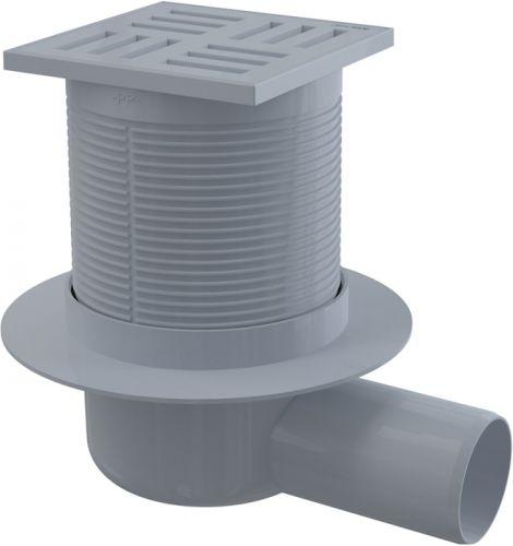 Alcaplast Podlahová vpust 105 × 105/50 boční, mřížka šedá, vodní zápachová uzávěra APV5111