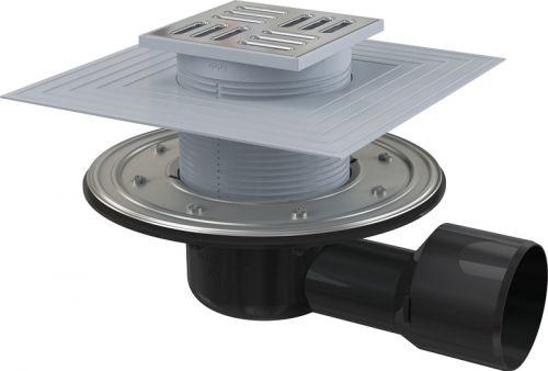 Podlahová vpust 105x105/50/75 boční,mříž nerez, 2.úrovně izolace,kombi zápach.uzávěra ALCAPLAST APV3344 APV3344