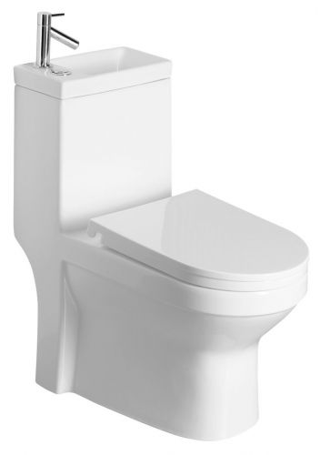AQUALINE HYGIE WC kombi s umývátkem, včetně PP sedátka, zadní/spodní odpad PB104