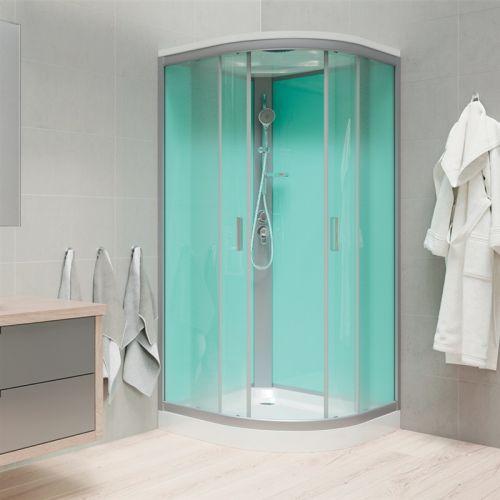 MEREO Sprchový box, čtvrtkruh, 100cm, satin ALU, sklo Point, zadní stěny zelené, litá vanička, se stříškou CK35162MS