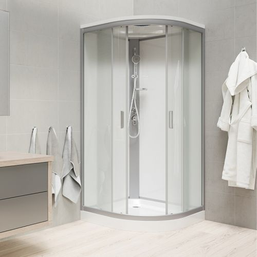 MEREO Sprchový box, čtvrtkruh, 90cm, satin ALU, sklo Point, zadní stěny bílé, SMC vanička, se stříškou CK35122BSW
