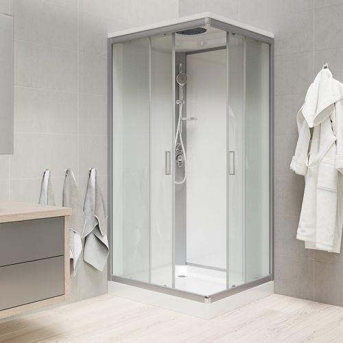 MEREO Sprchový box, čtvercový, 90cm, satin ALU, sklo Point, zadní stěny bílé, SMC vanička, se stříškou CK34122BSW