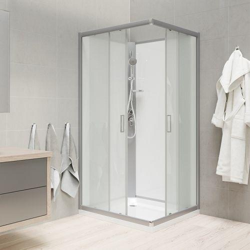 MEREO Sprchový box, čtvercový, 90 cm, satin ALU, sklo Point, zadní stěny bílé, litá vanička, bez stříšky CK34122MW