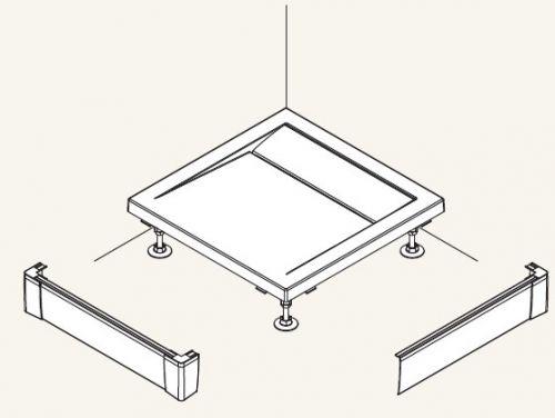 SanSwiss panel přední L pro obdélníkovou vaničku černá matná 900 x 800 mm PWIL08009006 PWIL08009006