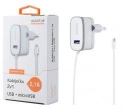 Aligator síťová nabíječka, micro USB + 1x USB, 2,1 A, bílá