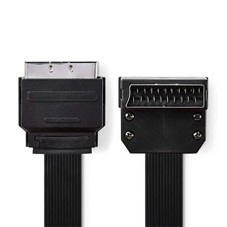 Nedis CVGP31045BK20 - SCART Plochý Kabel | SCART Zástrčka - SCART Zástrčka Úhlová 90° | 2 m | Černá barva
