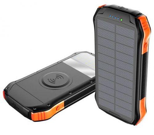Viking solární outdoorová power banka S12W, 12000 mAh, bezdrátové nabíjení, černo-oranžová