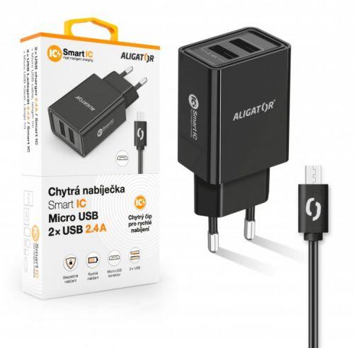 Aligator síťová nabíječka, 2x USB, kabel micro USB 2A, smart IC, 2,4 A, černá