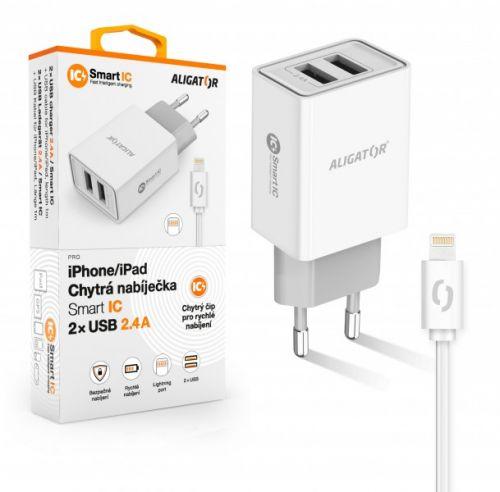 Aligator síťová nabíječka, 2x USB, kabel Lightning 2A, smart IC, 2,4 A, bílá