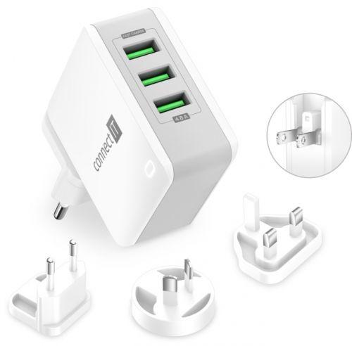 CONNECT IT Nomad2 WorldTravel nabíjecí adaptér 3xUSB-A, 24W, bílý