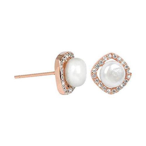 JwL Luxury Pearls Stříbrné rosegold náušnice s pravou bílou perlou a krystaly JL0252