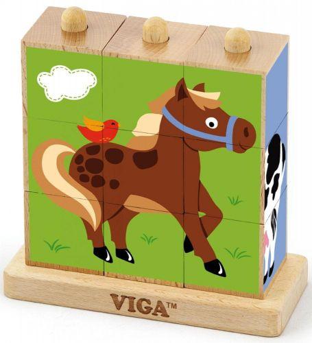Viga Dřevěné kostky 9 ks - farma