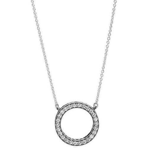 Pandora Stříbrný náhrdelník s krystalovým přívěskem 590514CZ-45 stříbro 925/1000