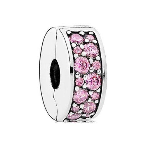 Pandora Třpytivý růžový klip 791817PCZ stříbro 925/1000