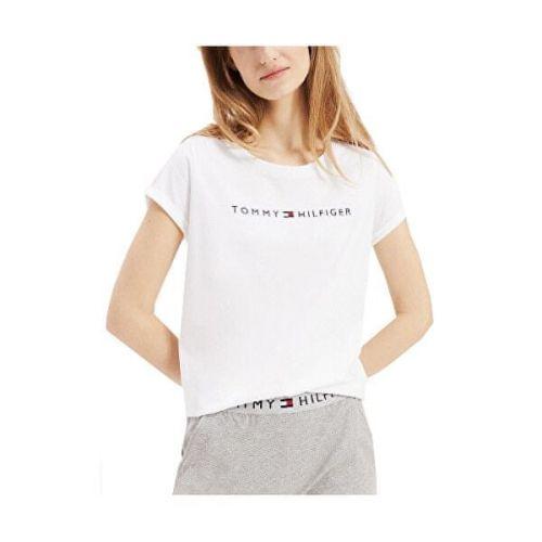 Tommy Hilfiger Dámské triko Tommy Original Rn Tee Ss Logo UW0UW01618-100 White (Velikost S)
