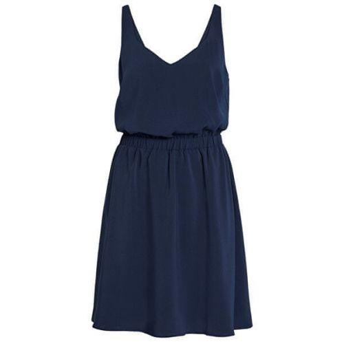 VILA Dámské šaty Laia S/L V-neck Dress Noos Navy Blazer (Velikost 38)