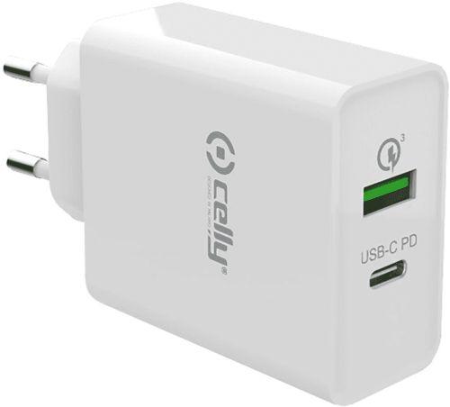 Celly Cestovní nabíječka 45W,USB+USB-C bílá (TCUSBC45WWH)