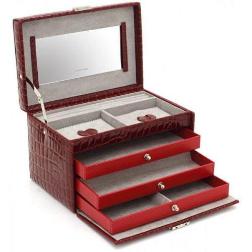 Friedrich Lederwaren Šperkovnice vínová/šedá s krokodýlím vzorem Jolie 23254-40 cena od 1330 Kč