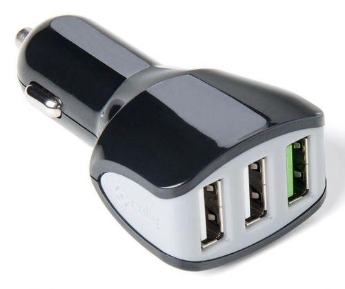 Celly Autonabíječka Turbo (3x USB; 4,4 A), černá