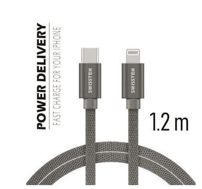 SWISSTEN DATOVÝ KABEL SWISSTEN TEXTILE USB-C / LIGHTNING 1,2 M ŠEDÝ 71525202