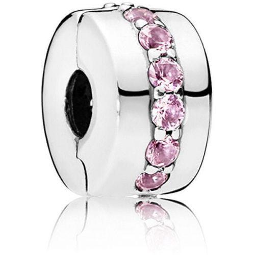 Pandora Stříbrný klip s růžovými kamínky 791972PCZ stříbro 925/1000