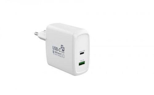 MAX Síťová nabíječka sUSB, USB/A + USB/C sfunkcí QuickCharge, bílá