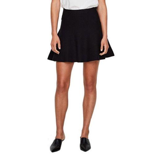 Vero Moda Dámská sukně VMFRESNO SHORT KNIT SKIRT NOOS Black (Velikost M)
