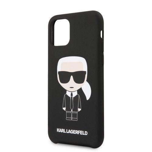 Karl Lagerfeld Iconic Silikonvý Kryt pro iPhone 11 Pro Max Black (EU Blister) (KLHCN65SLFKBK)