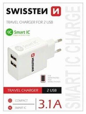 SWISSTEN Síťový adaptér Smart IC 2× USB 3,1 A Power 22013307, bílý