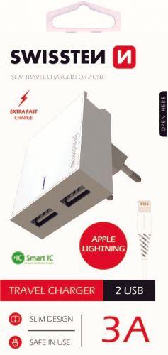 SWISSTEN Síťový adaptér Smart IC, CE 2x USB, 3 A, bílý (22047000)