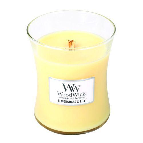 Woodwick Svíčka oválná váza , Citronová tráva a lilie, 275 g