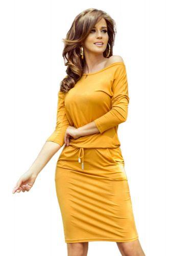 Numoco Dámské šaty 13-112, medová, XL