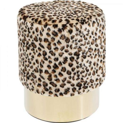 KARE Stolička s leopardím motivem Cherry - sokl mosaz