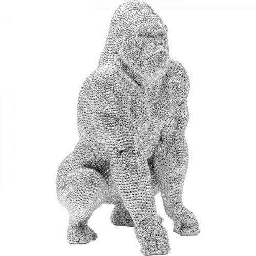 KARE Soška Gorila stojící Stříbrná 46cm