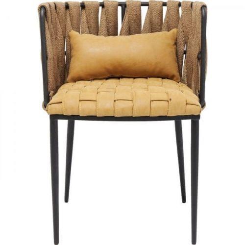 KARE Hnědá polstrovaná jídelní židle s polštářkem Cheerio Yellow