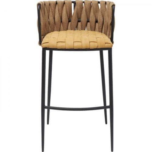 KARE Hnědá polstrovaná barová židle Cheerio