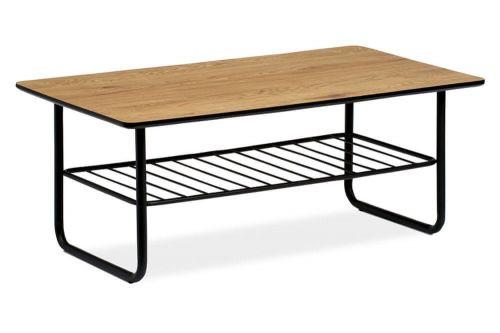 Autronic Konferenční stolek 110x60x45, tloušťka desky 25mm, MDF dekor divoký dub, kov černý matný lak AHG-382 OAK