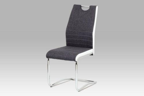 Autronic Jídelní židle chrom a šedá látka s bílou ekokůží DCL-444 GREY2