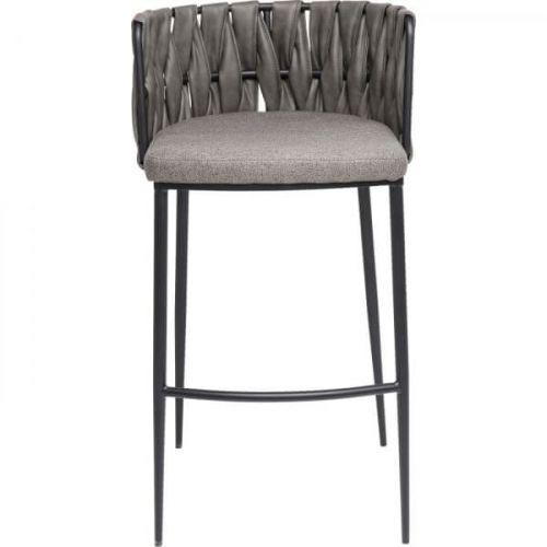 KARE Šedá polstrovaná barová židle Cheerio