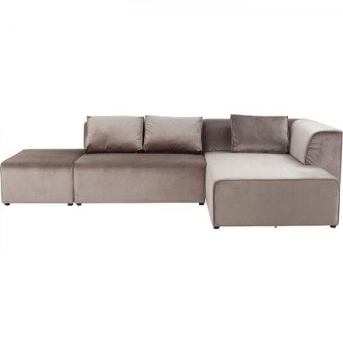 KARE Rohová sedačka Infinity Velvet Taupe - šedá, pravá