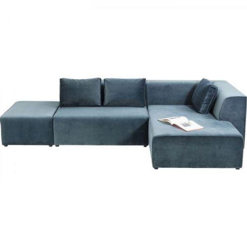 KARE Rohová sedačka Infinity Velvet Ocean -modrá, pravá
