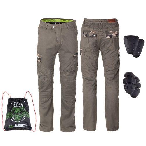 W-TEC Pánské moto kalhoty Shoota - barva olivově zelená, velikost S
