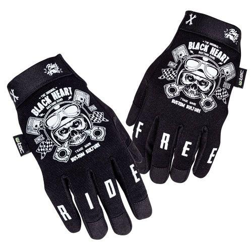 W-TEC Moto rukavice Piston Skull - barva černá, velikost S